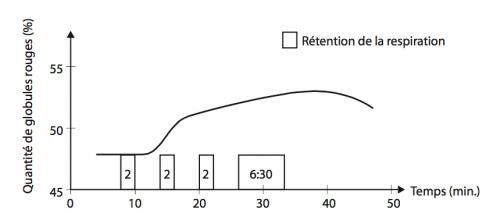 Après une rétention du souffle prolongée, la quantité de globules rouges aug- mentent parce que la rate se contracte.